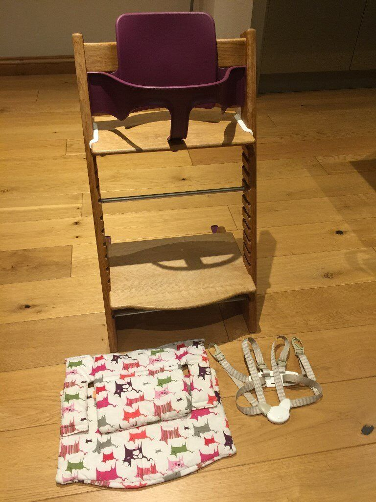 stokke chair harness teak steamer chairs canada tripp trapp highchair in solid oak with baby seat and cushion
