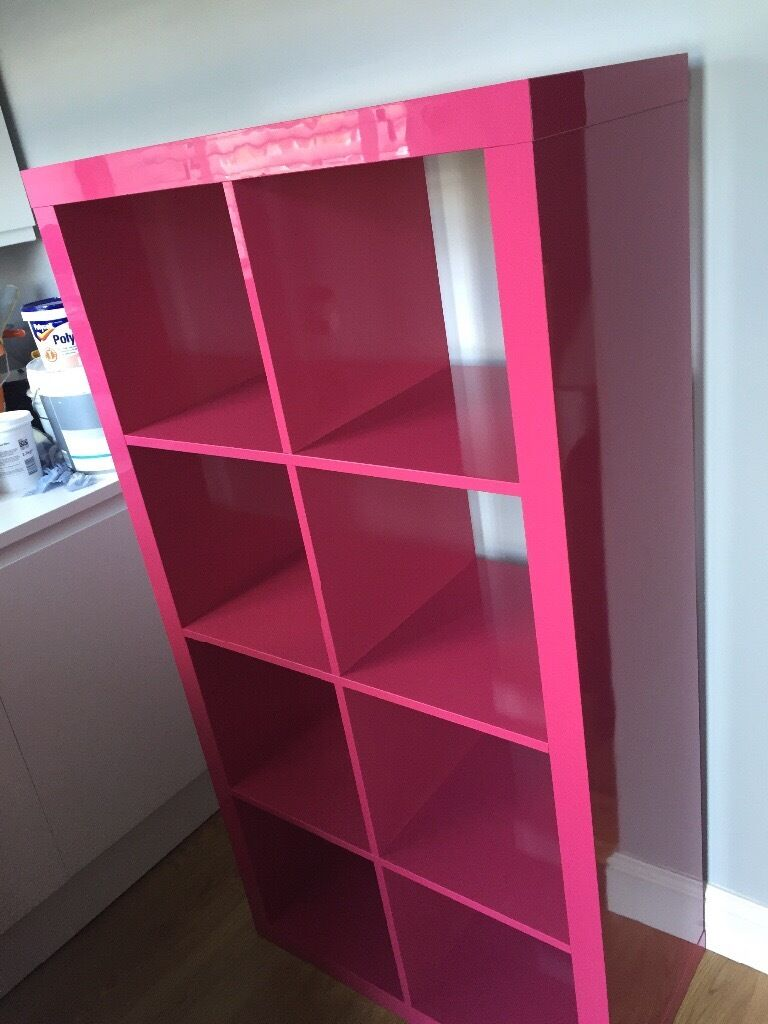 Ikea Hot Pink High Gloss Expedit Storage Unit 8 cubes  in