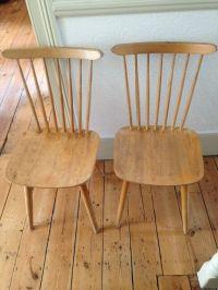 2 blonde wood vintage mid century spindle back dining ...