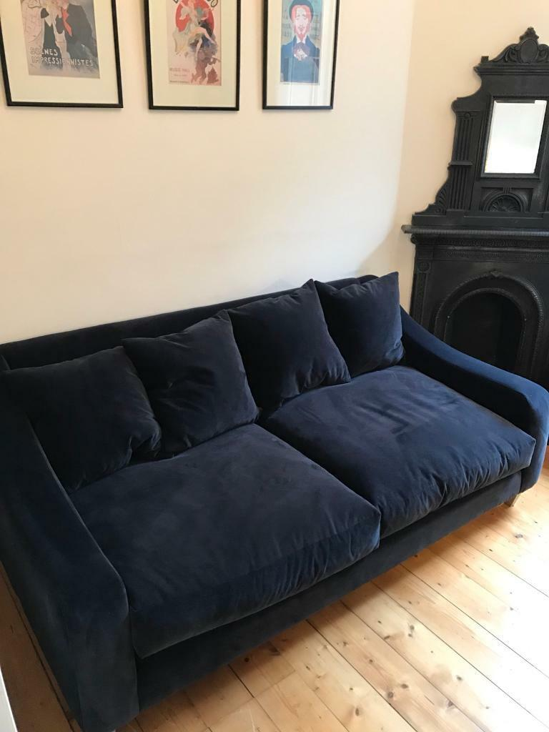navy blue velvet sofa living room black leather medium matching footstool available in