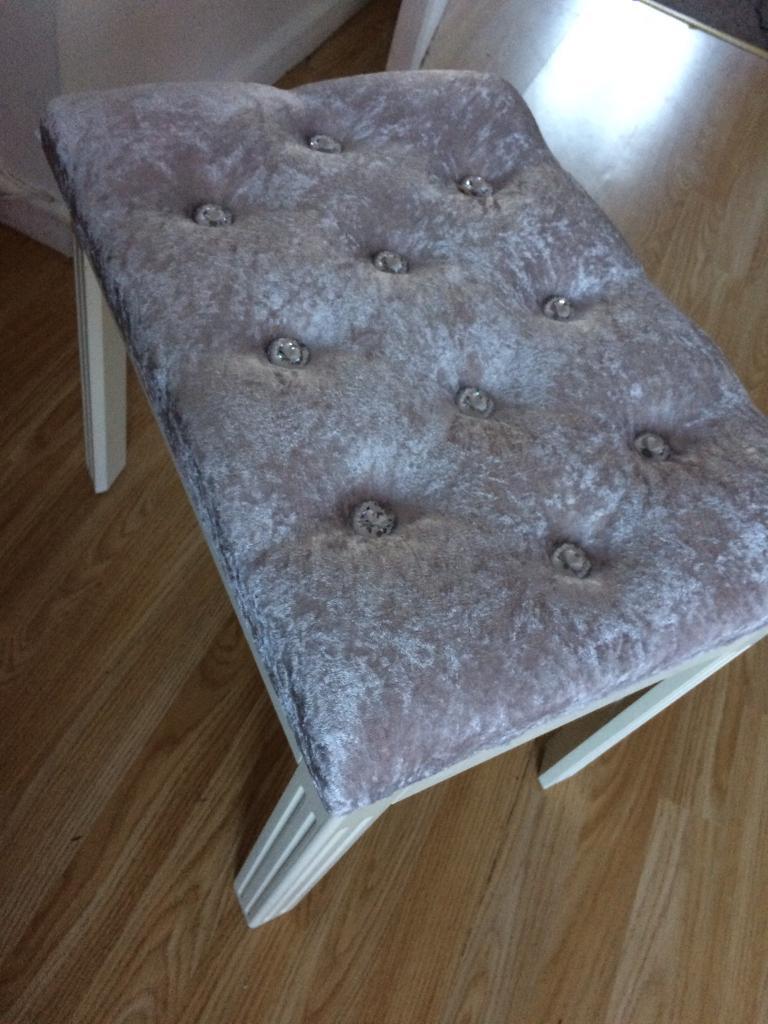 bedroom chair gumtree ferndown red parson chairs crushed velvet silver grey stool in dorset
