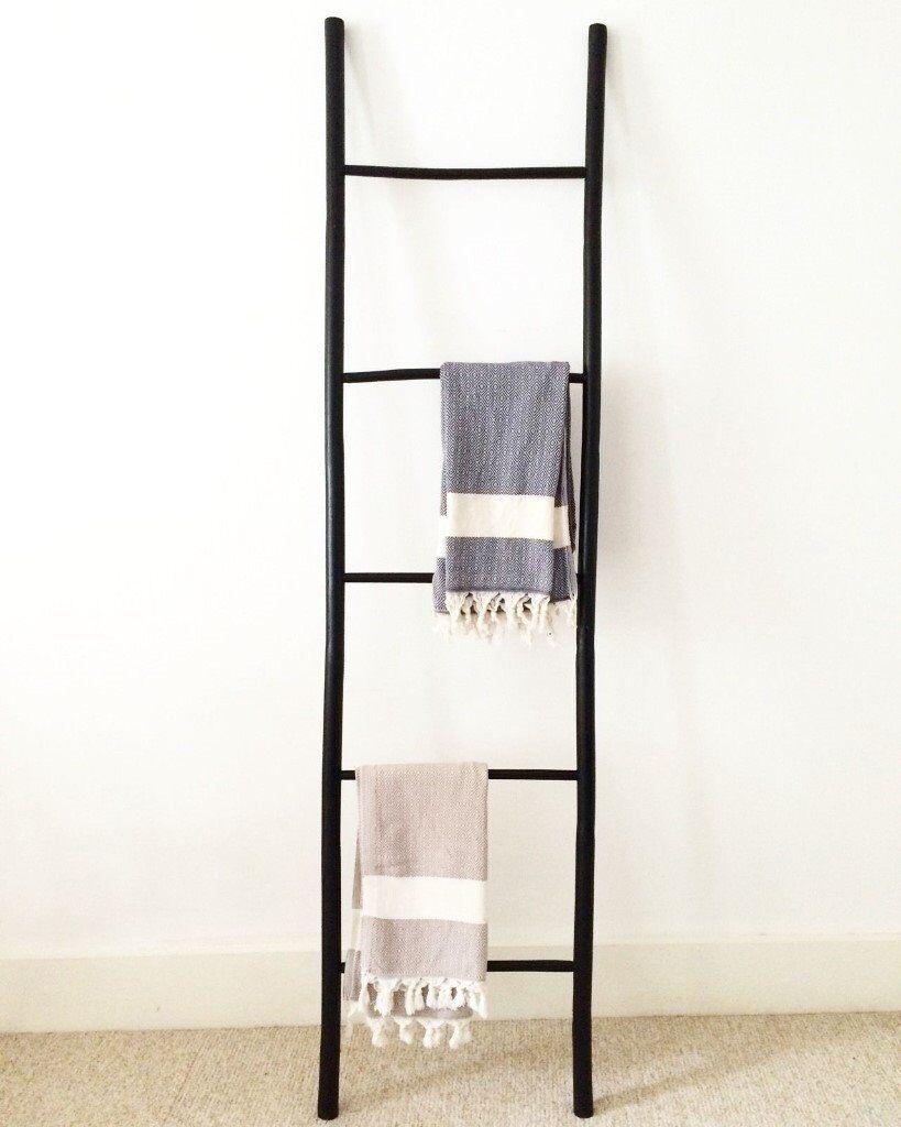 Black Bamboo LadderHanger for Bathroom or Bedroom  in