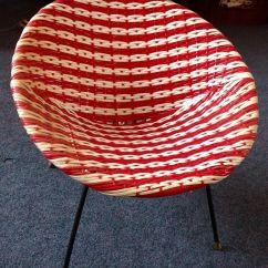 Woven Rocking Chair Hanging Wood 1960s Retro Mid Century Child's Plastic Circular Metal Frame Red And White -rare ...