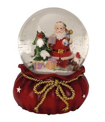 Große Spieluhr Schneekugel Ø 11 cm Weihnachtsmann Spieldose Weihnachten