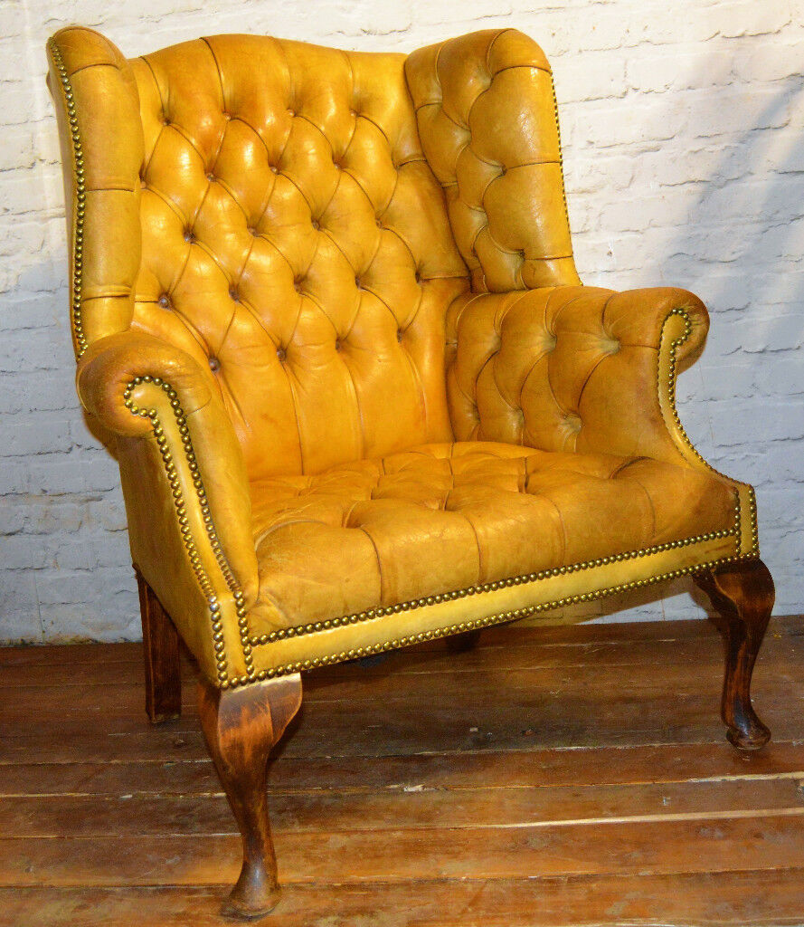 queen anne wingback chair leather seat covers walmart chesterfield yellow armchair vintage chairs antique seating club lounge