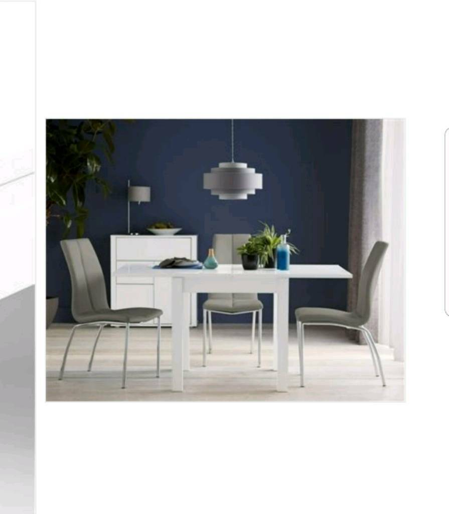 Next white gloss dining room table with 6 chairs plus