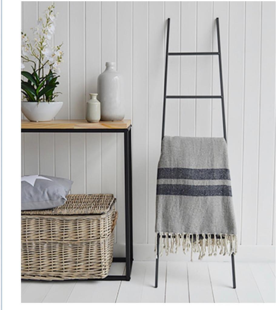 living room blanket holder rustic lamps for decorative ladder towel rail kitchen bathroom