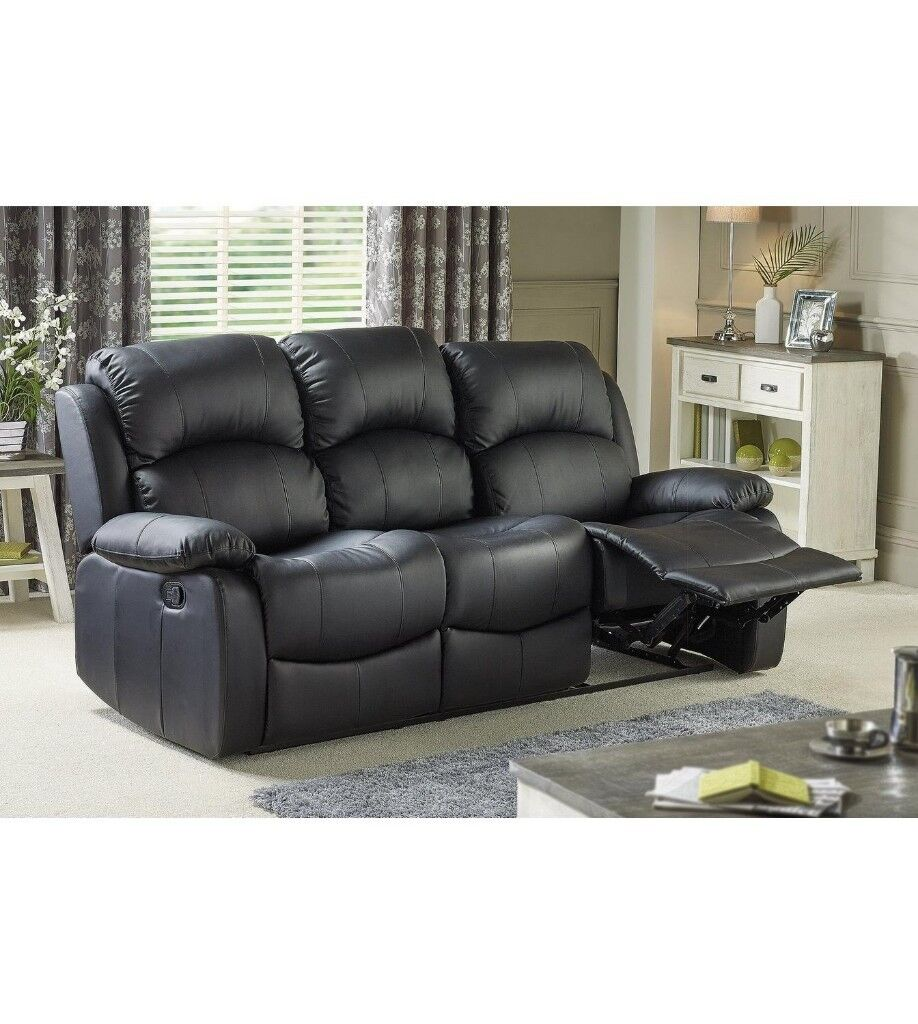 3 seater sofa black leather nice sets designs excellent recliner faux extremely comfortable