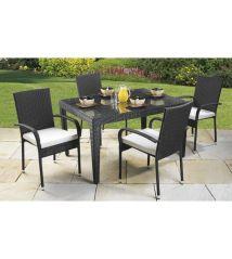 Brand 5 Piece Rattan Garden Outdoor Furniture Black