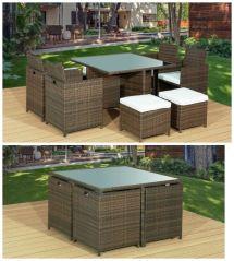 Brand Brown 9pc Cube Rattan Garden Furniture Set