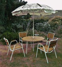 Vintage Retro 1950 1960' Danish Teak Metal Garden Patio