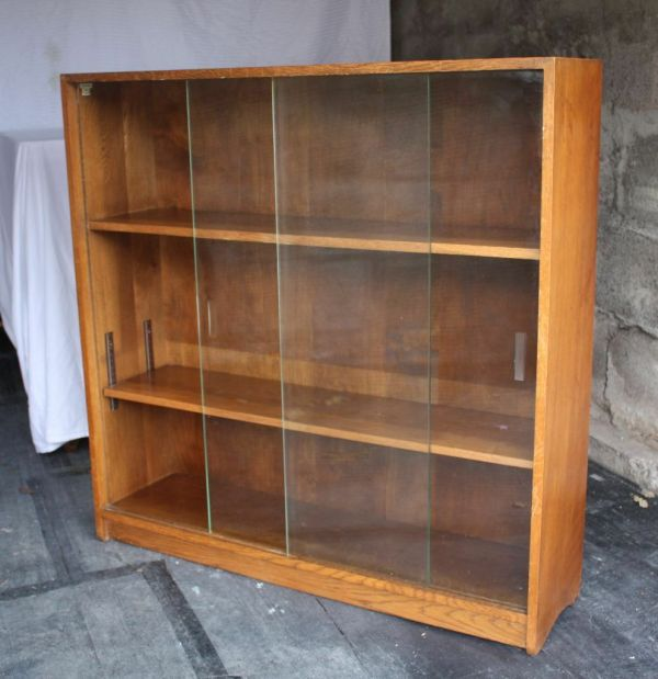 Vintage / retro glass front solid oak bookcase/display/book shelves-sliding doors & adjustable ...