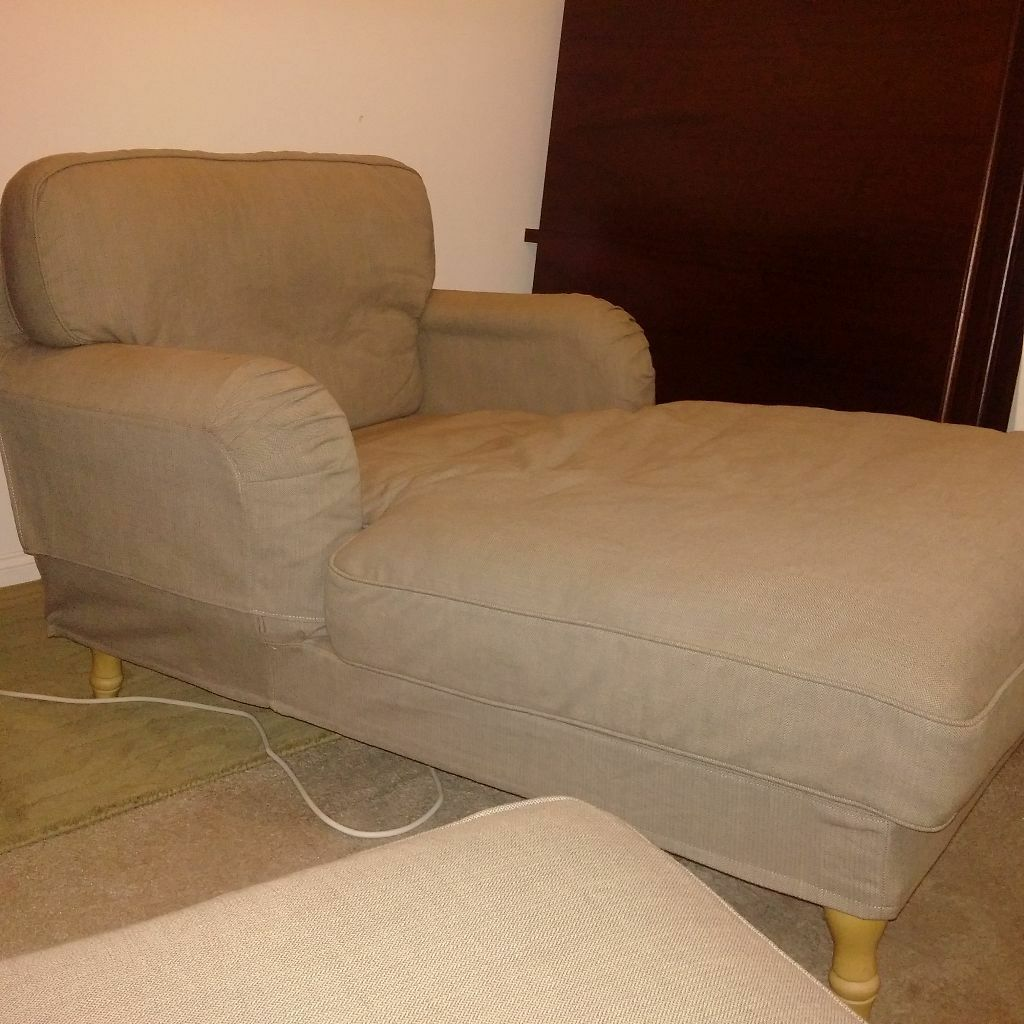 leather sofa covers ready made uk deals ikea stocksund chaise longue chair in leigh on sea