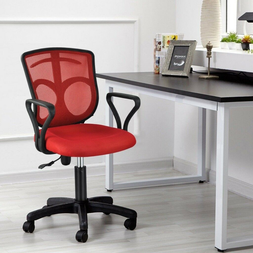 swivel chair uk gumtree hanging wicker egg nz red and black adjustable ergonomic office in