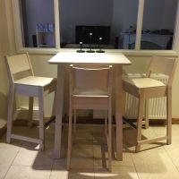 wooden IKEA Norraker breakfast bar table with three bar ...