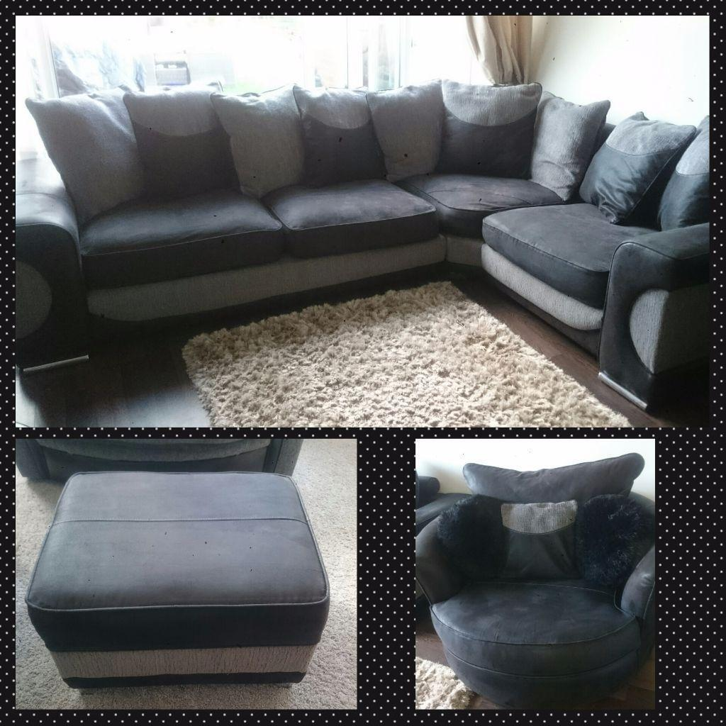 corner sofa and swivel chair tufted ottoman sofaworks halo black grey large