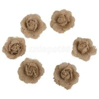 6 Natural Burlap Shabby Chic Rose Flowers Rustic Wedding