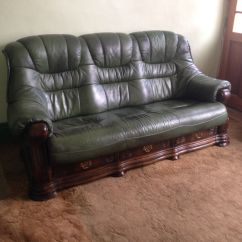 Leather Couch And Chair Reception Area Chairs Sofa Armchair Green Solid Wooden Frame