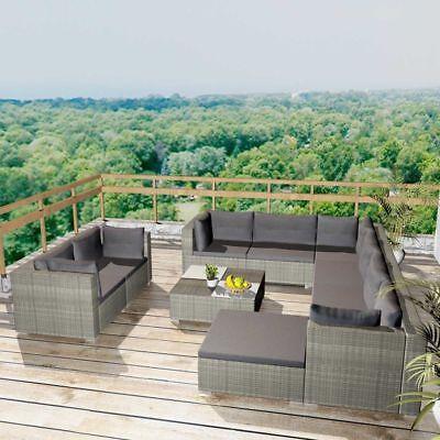 vidaXL Gartensofa 32-tlg. Poly Rattan Grau Sitzgruppe Lounge Gartenmöbel Set