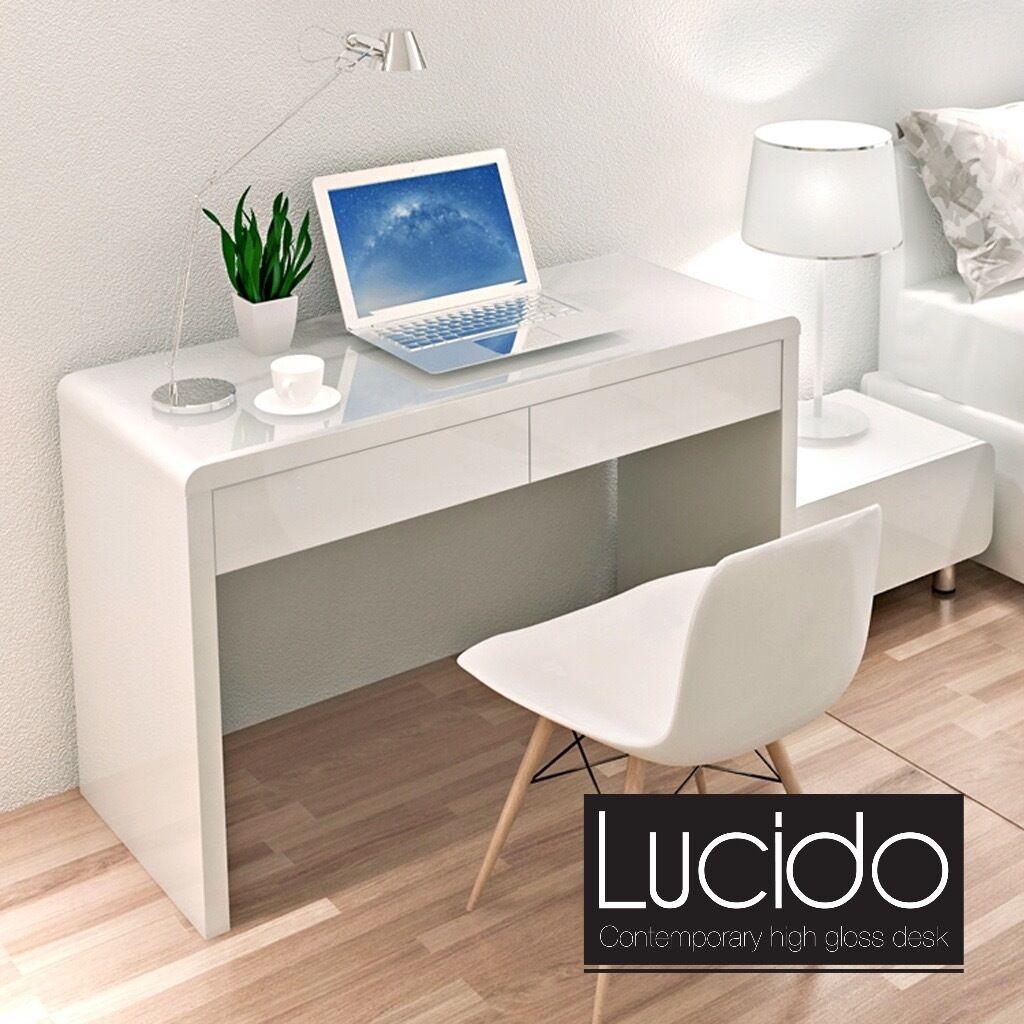 Contemporary Modern White High Gloss Dressing TableGlossy