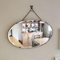 vintage mirror. hanging mirror. mirror on chain. antique ...