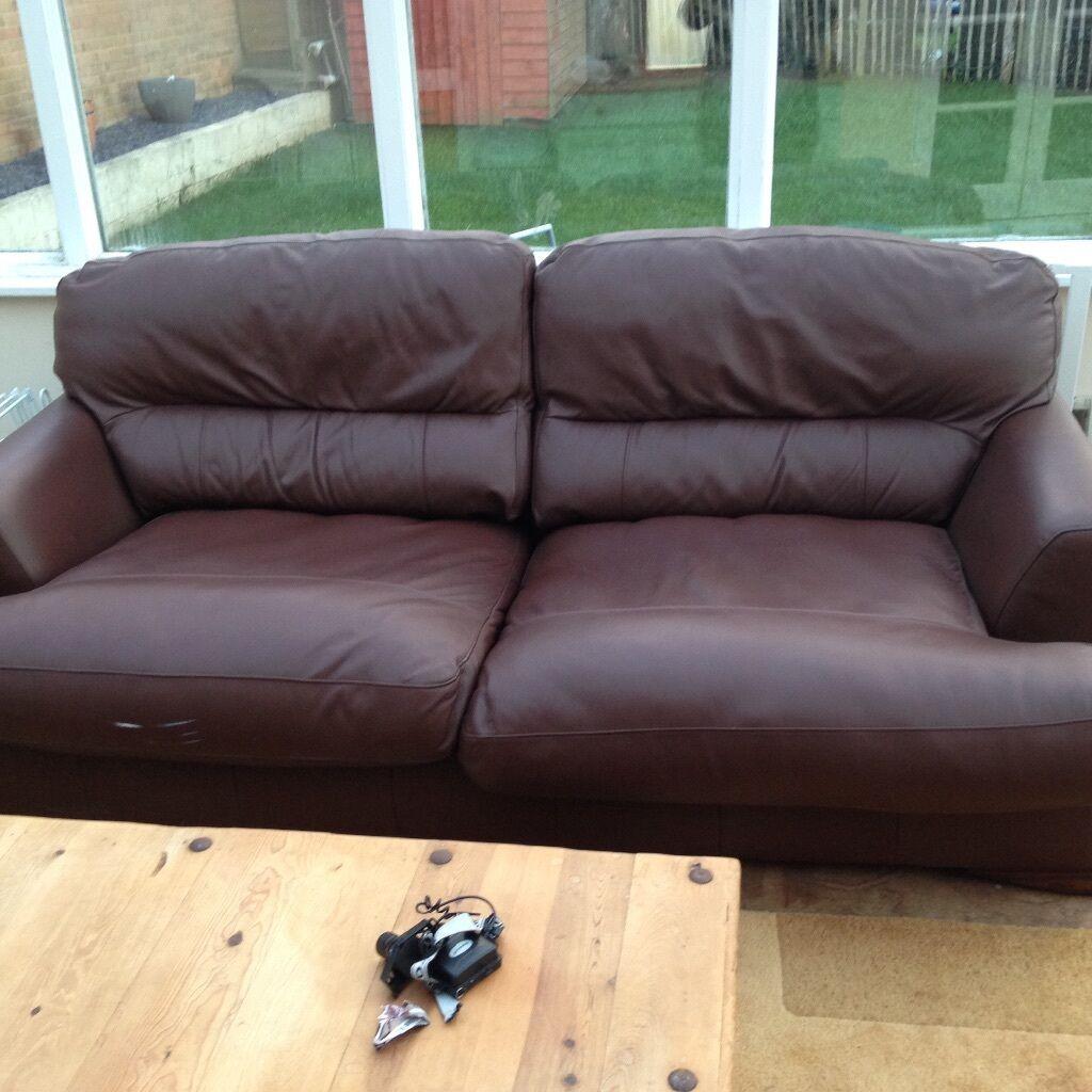 leather sofa bed with sprung mattress leopard skin spring mechanism vgc bargain at 50