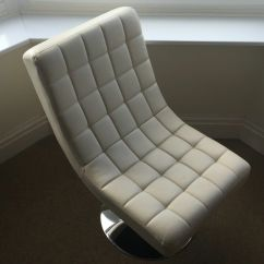 Quilted Swivel Chair Rattan Swing Nz Cream 60s Style Good Condition In Rogerstone