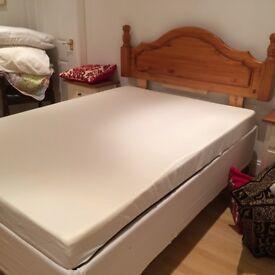 Ikea Storage Double Bed Pine Headboard And Brand New Mattress