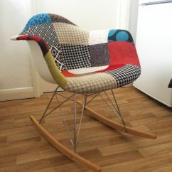 Eames Rocking Chair Lowes Card Table And Chairs Style Rar Rocker Patchwork Fabric