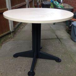 Boondocks Steel Chair Effect Adjustable Armrest Office Round Table Wood Top Metal Legs Detachable