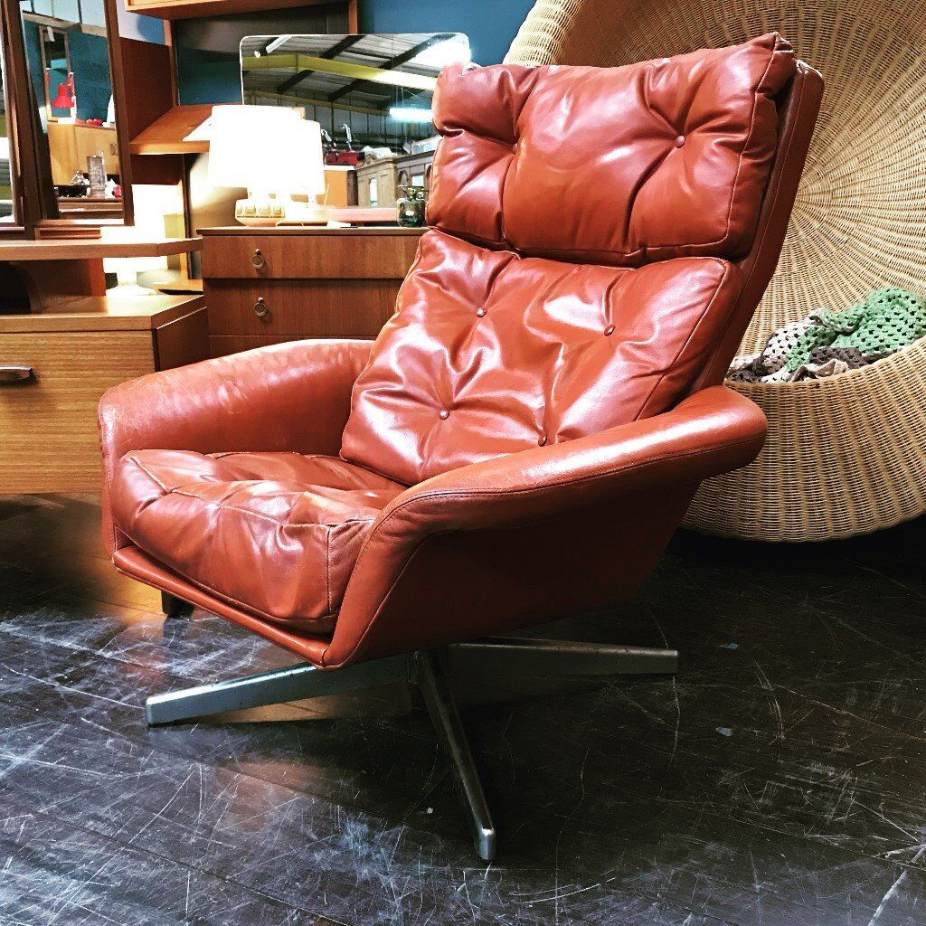 Red Leather Swivel Chair Red Leather Swivel Chair Retro Vintage Mid Century Danish Style In Finnieston Glasgow Gumtree