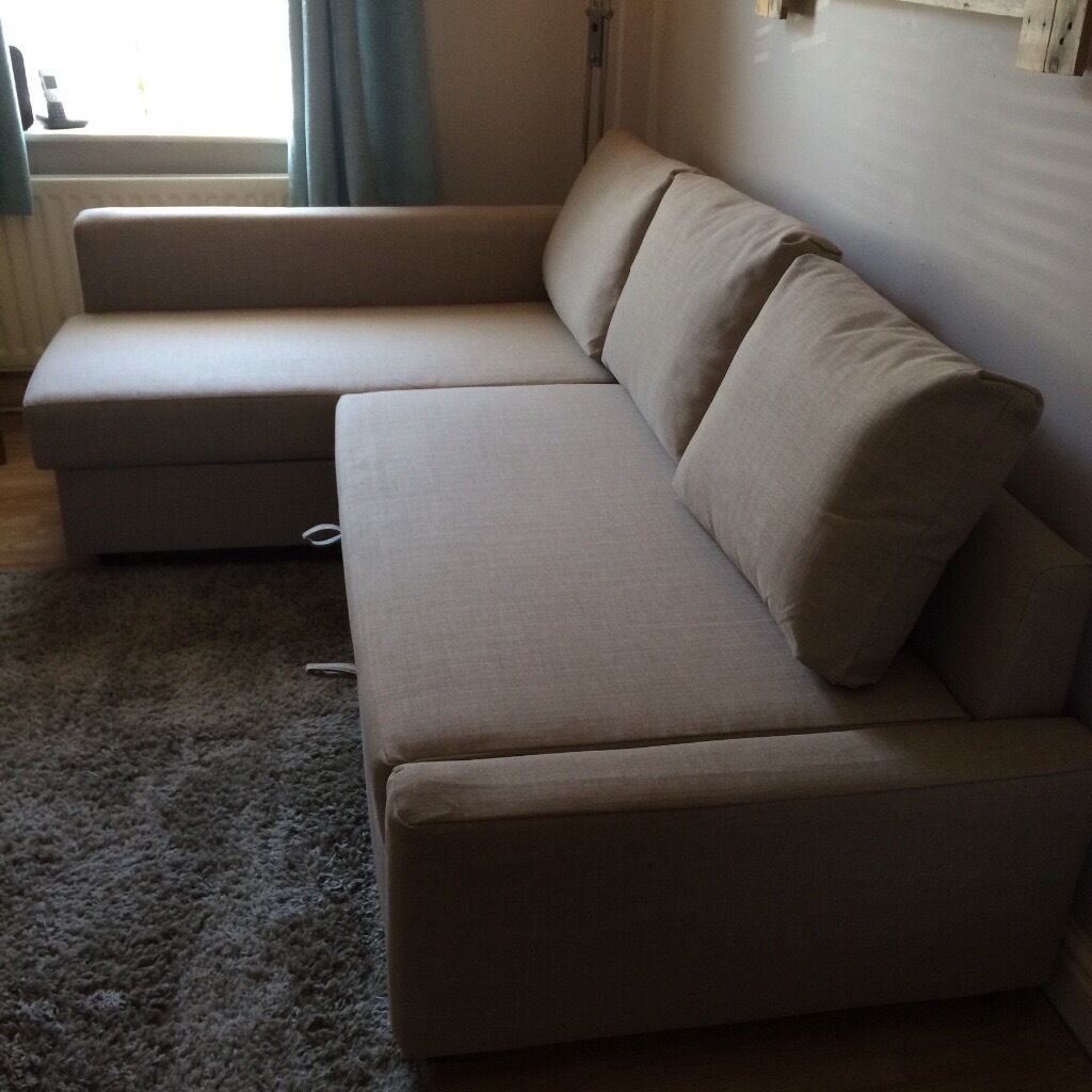 corner sofa bed chaise longue 3 seat slipcover ikea friheten in beige with