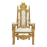 2 x New Gold Lion Queen Throne Chair Wedding Events Luxury