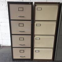 2 x FOUR DRAWER METAL FILING CABINETS WITH SUSPENSION ...