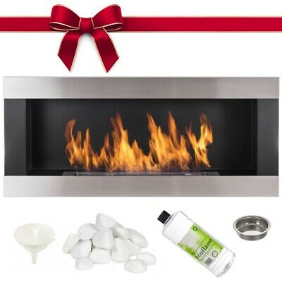 BIO ETHANOL FIREPLACE ECO FIRE BURNER 90x40 BLACK METAL WALL MOUNTED ACCESSORIES
