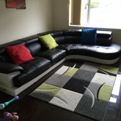 Cosmo Black Leather Sofa Ellis And White Bonded Corner Righ Hand