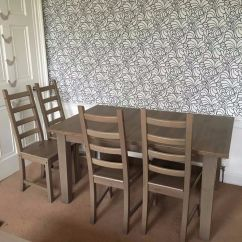 Ikea Wooden Dining Table 4 Chairs And For Toddler Extending Brown Stained