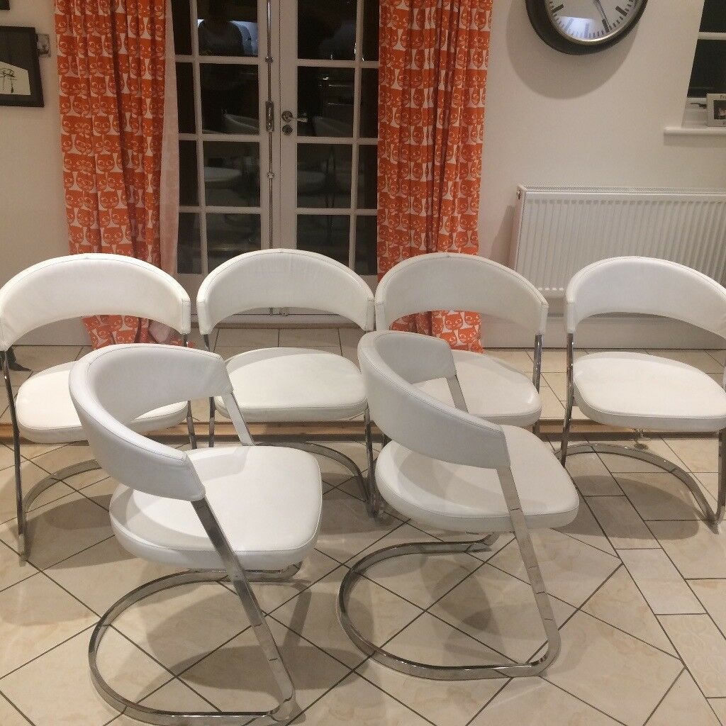 Calligaris Dining Chairs Calligaris Dining Chairs Set Of 6 White Leather And Chrome In Richmond North Yorkshire Gumtree