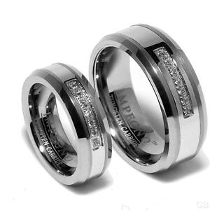 Tungsten Wedding Bands For Him And Her White Gold Locket