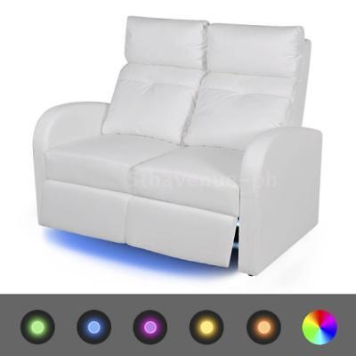LED Fernsehsofa Kinosofa Heimkino Relaxsessel 2-Sitzer Kunstleder Weiß Y8O3