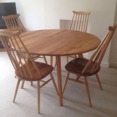 Ercol Windsor Dining Table And Chairs Chair Covers Set Of 4 Restored Retro Blonde Round 43