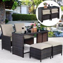 Free Uk Delivery - 5 Piece Compact Outdoor Rattan Set With