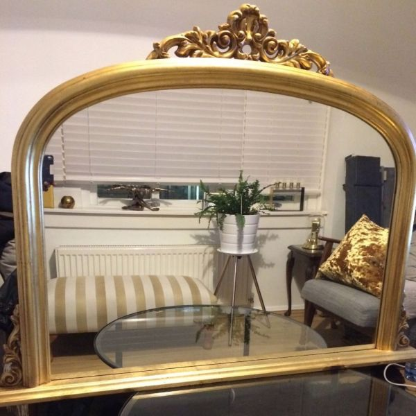 Antique Large Mirror Over Fireplace