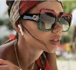 ✅ Gucci GG0083S 001 Women Square Sunglasses Red Black Gray 100% UV