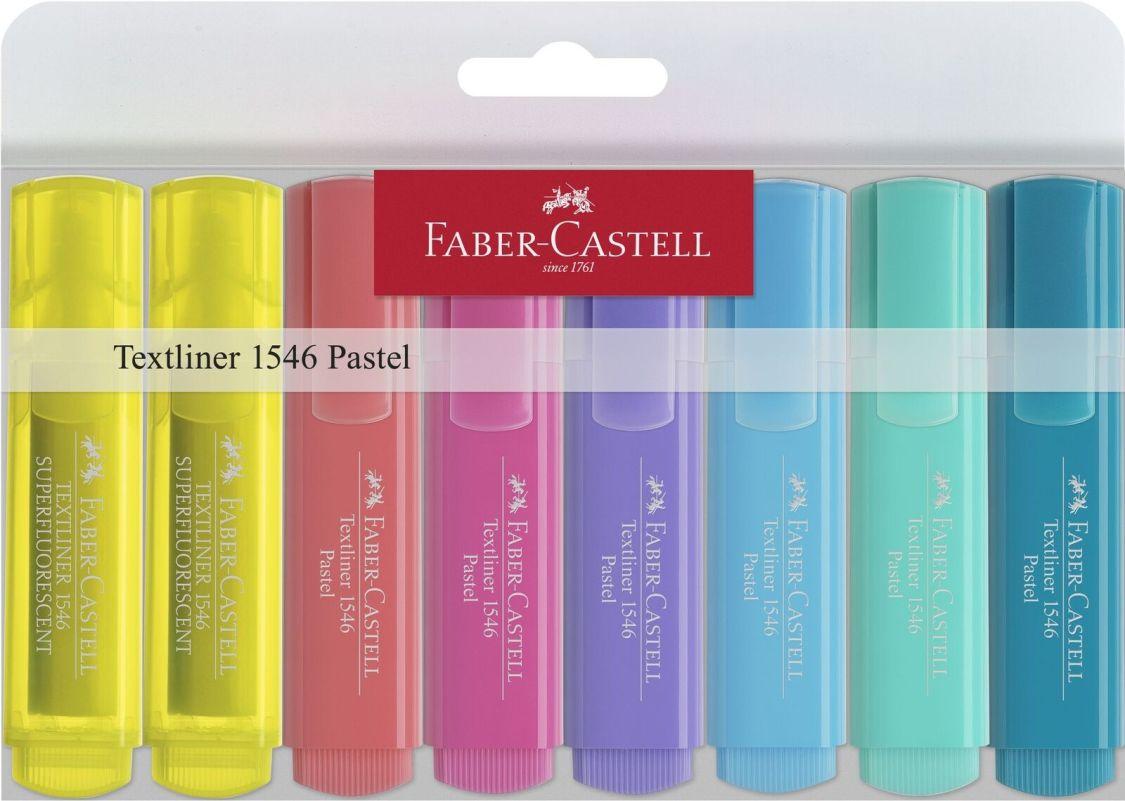 Textmarker Faber-Castell 154681 sortiert Pastellfarben 8 Stifte Leuchtstift