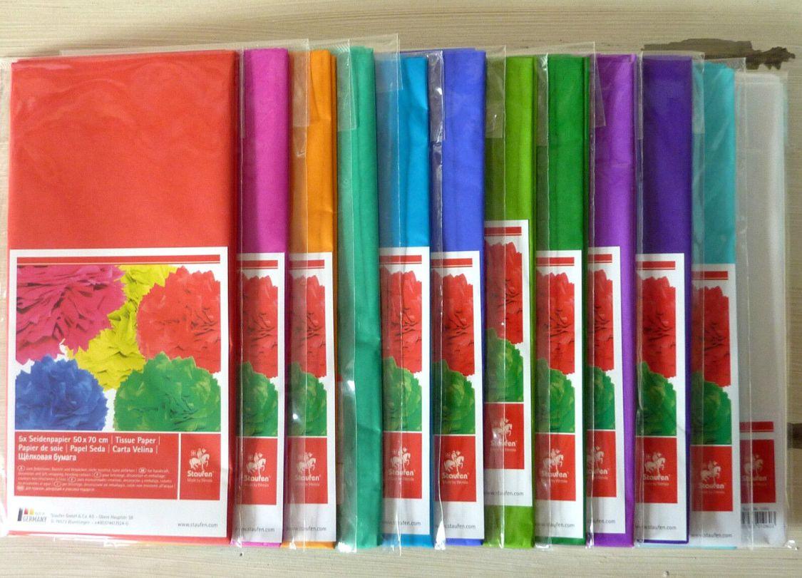 (0,83€/qm) Seidenpapier 5 Bögen 50x70cm, viele verschiedene Farben
