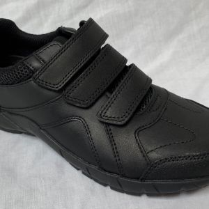 New Clarks Boys Air Learn Black Leather Air Spring FX School Shoes   57