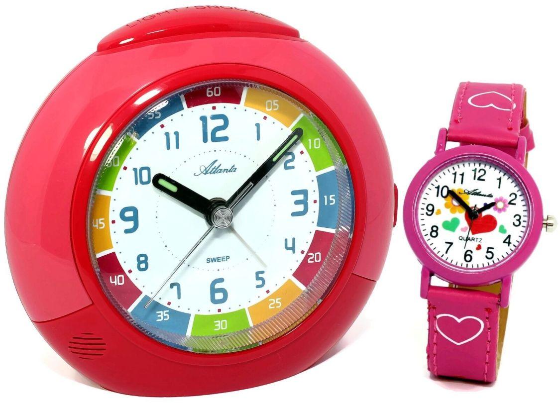 SET Kinderwecker + Armbanduhr Rot Rosa Pink Mädchen Lernwecker - 1678-17 KAU