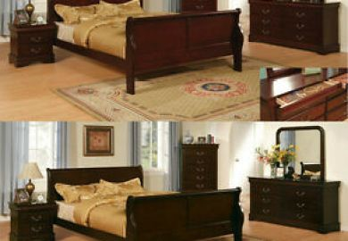 Louis Philippe Bedroom Furniture Set Cherry Finish King Size
