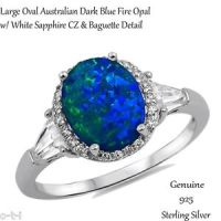 Large-Oval-Dark-Blue-Fire-Opal-White-Sapphire-Sterling ...